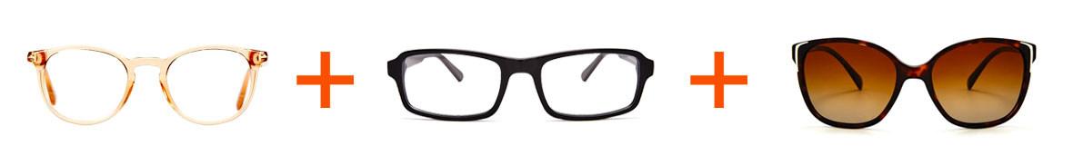 två glasögon ett par solglasögon